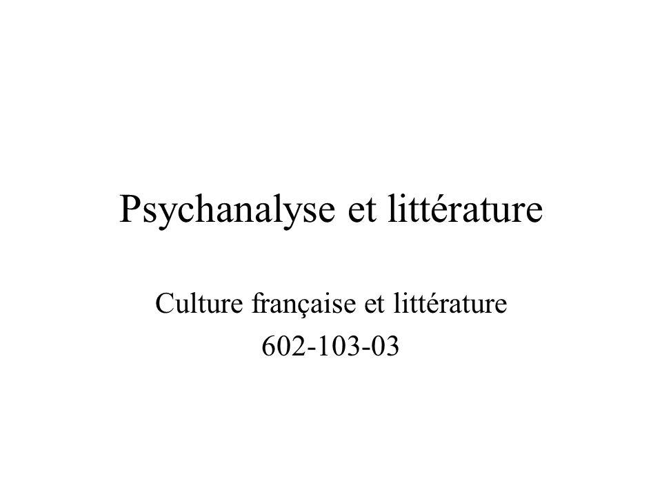 Psychanalyse et littérature Culture française et littérature 602-103-03