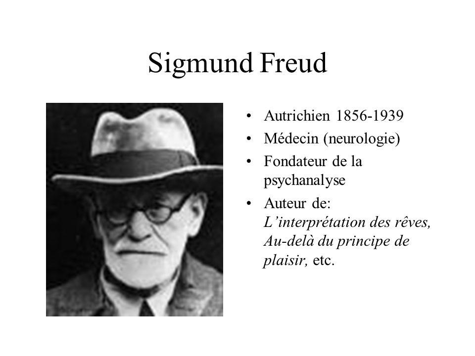 Sigmund Freud Autrichien 1856-1939 Médecin (neurologie) Fondateur de la psychanalyse Auteur de: L'interprétation des rêves, Au-delà du principe de pla