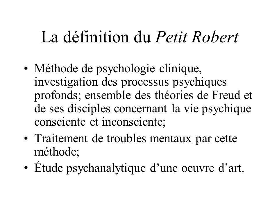 La définition du Petit Robert Méthode de psychologie clinique, investigation des processus psychiques profonds; ensemble des théories de Freud et de s