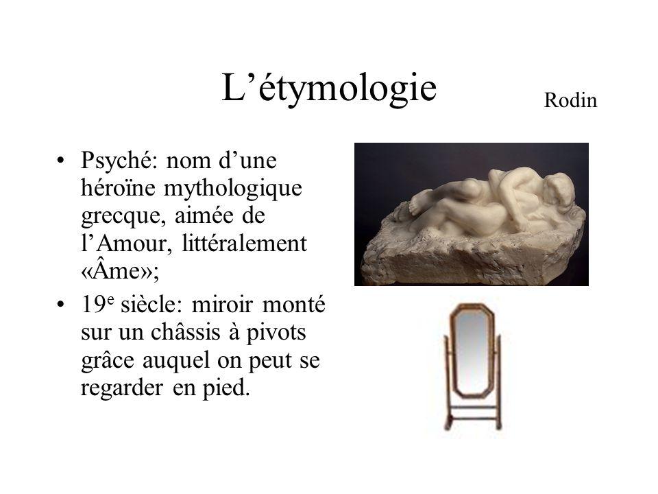 L'étymologie Psyché: nom d'une héroïne mythologique grecque, aimée de l'Amour, littéralement «Âme»; 19 e siècle: miroir monté sur un châssis à pivots