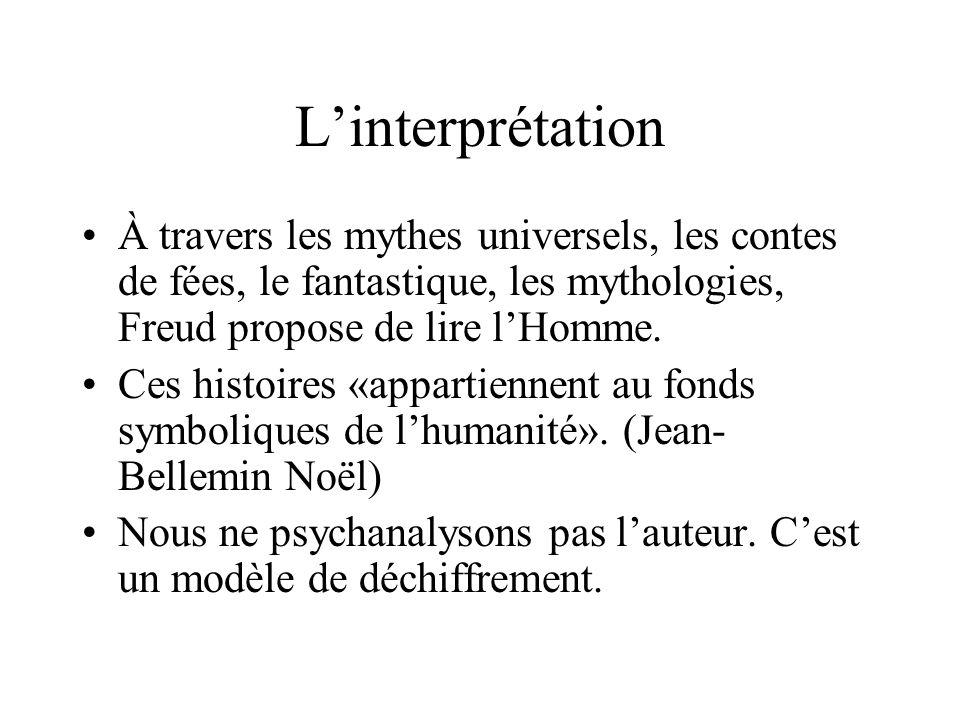 L'interprétation À travers les mythes universels, les contes de fées, le fantastique, les mythologies, Freud propose de lire l'Homme. Ces histoires «a
