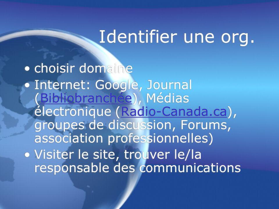 Identifier une org.
