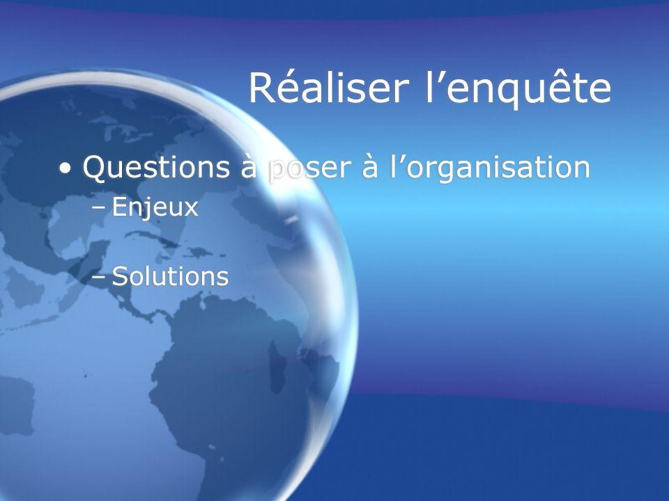 Réaliser l'enquête Questions à poser à l'organisation –Enjeux –Solutions Questions à poser à l'organisation –Enjeux –Solutions