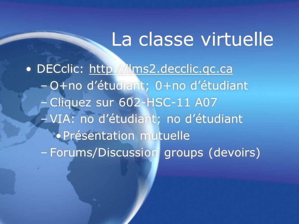 La classe virtuelle DECclic: http://lms2.decclic.qc.cahttp://lms2.decclic.qc.ca –O+no d'étudiant; 0+no d'étudiant –Cliquez sur 602-HSC-11 A07 –VIA: no