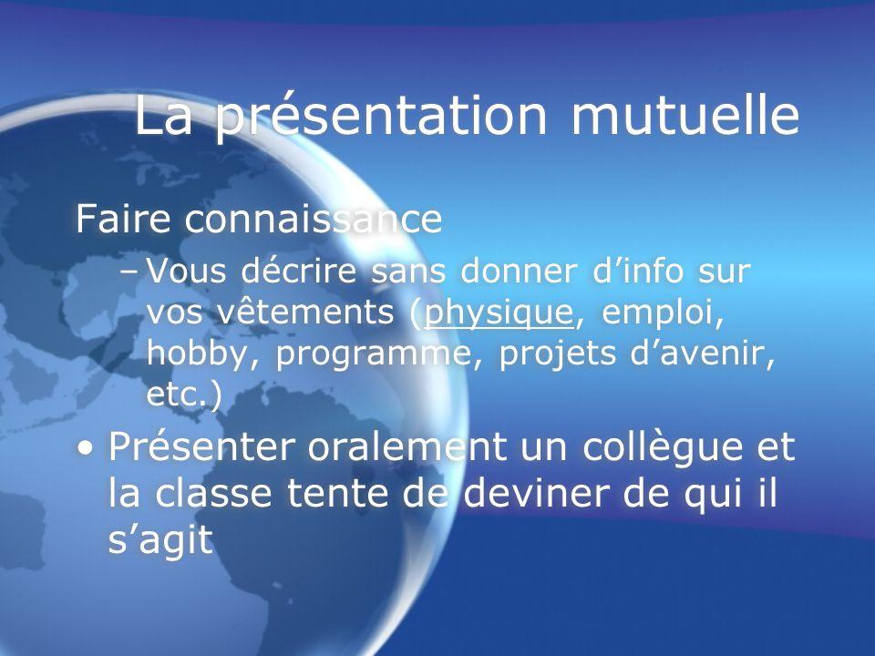La présentation mutuelle Faire connaissance –Vous décrire sans donner d'info sur vos vêtements (physique, emploi, hobby, programme, projets d'avenir,