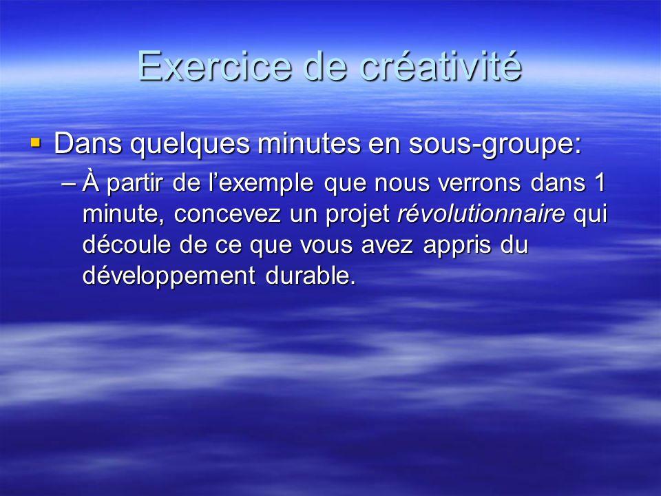 Exercice de créativité  Dans quelques minutes en sous-groupe: –À partir de l'exemple que nous verrons dans 1 minute, concevez un projet révolutionnaire qui découle de ce que vous avez appris du développement durable.