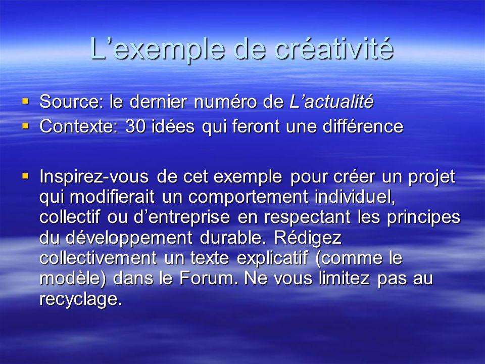 L'exemple de créativité  Source: le dernier numéro de L'actualité  Contexte: 30 idées qui feront une différence  Inspirez-vous de cet exemple pour créer un projet qui modifierait un comportement individuel, collectif ou d'entreprise en respectant les principes du développement durable.