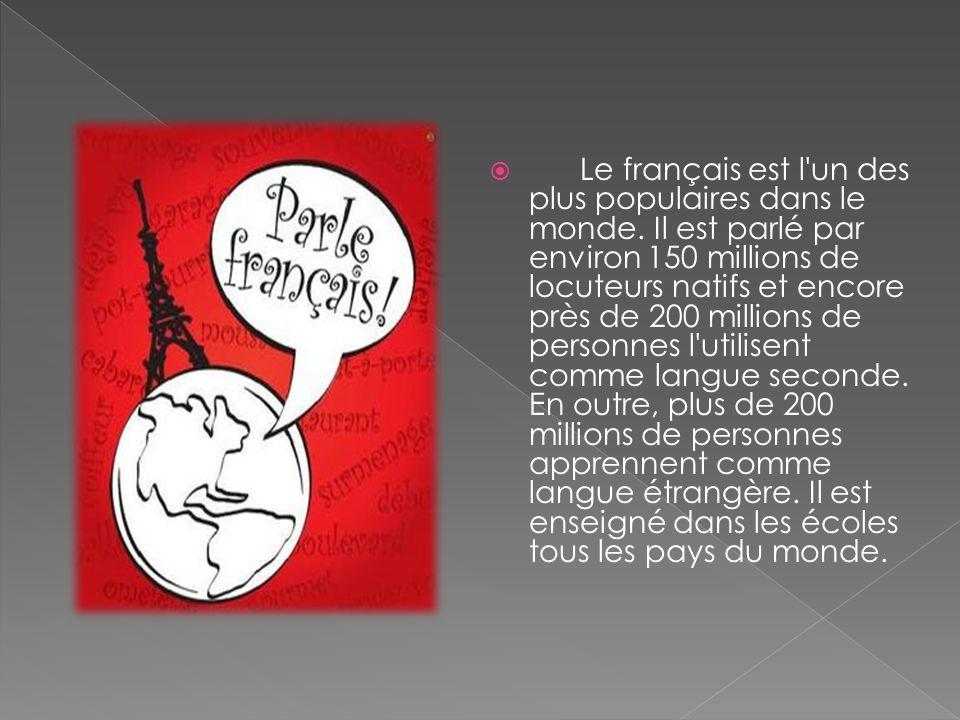  Le français est l'un des plus populaires dans le monde. Il est parlé par environ 150 millions de locuteurs natifs et encore près de 200 millions de