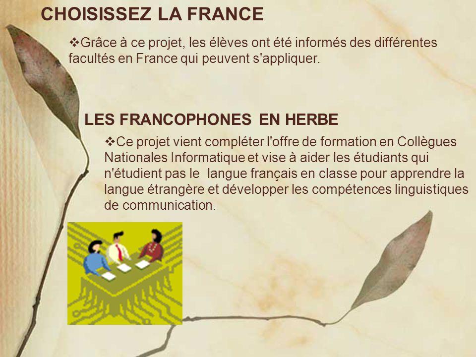 CHOISISSEZ LA FRANCE  Grâce à ce projet, les élèves ont été informés des différentes facultés en France qui peuvent s'appliquer. LES FRANCOPHONES EN