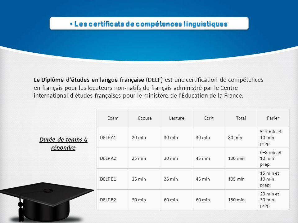 Le Diplôme d études en langue française (DELF) est une certification de compétences en français pour les locuteurs non-natifs du français administré par le Centre international d études françaises pour le ministère de l Éducation de la France.