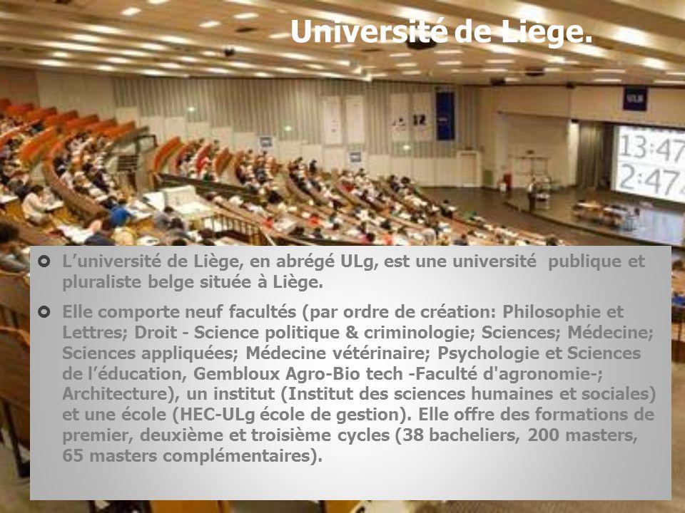 Université de Liège.  L'université de Liège, en abrégé ULg, est une université publique et pluraliste belge située à Liège.  Elle comporte neuf facu