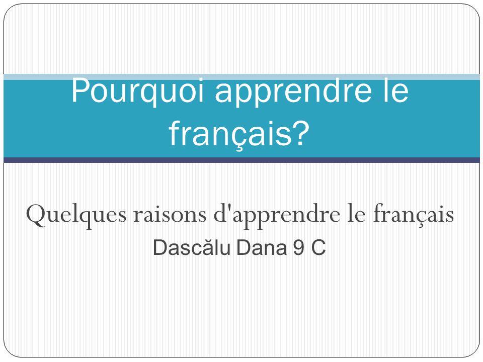Une langue parl é e dans le monde Plus de 260 millions de personnes utilisent le français sur le cinq continents.Dans près de 70 pays dans le monde,le français est la langue officielle.Le français est la langue etrangère la plus etudiée dans le mode après l'anglais.La France a le plus grand réseau d'institutions culturelles à l'etrager, institutions où les cours sont enseignés en français pour plus de 750.000 personnes chaque année.