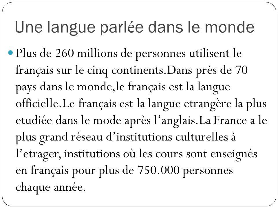 Une langue parl é e dans le monde Plus de 260 millions de personnes utilisent le français sur le cinq continents.Dans près de 70 pays dans le monde,le