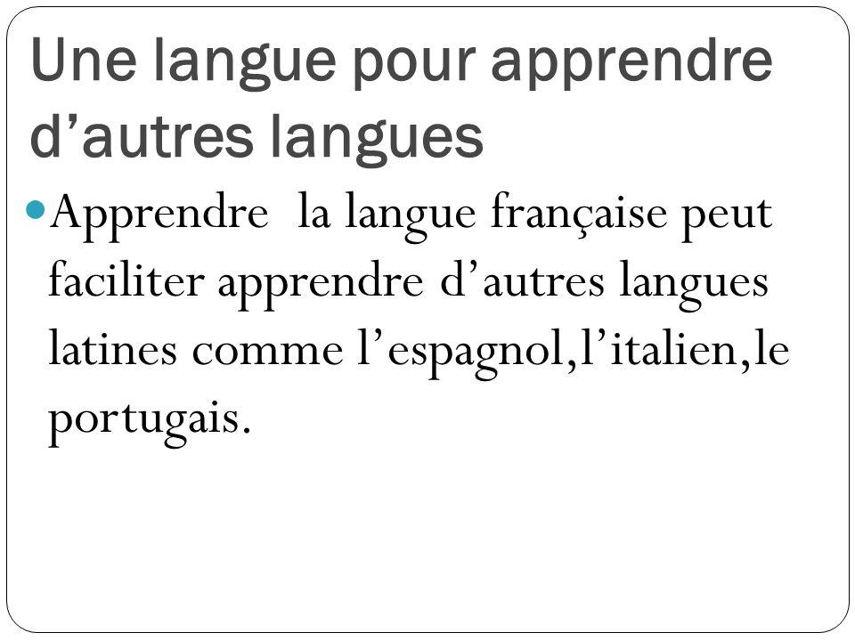 Une langue pour apprendre d'autres langues Apprendre la langue française peut faciliter apprendre d'autres langues latines comme l'espagnol,l'italien,