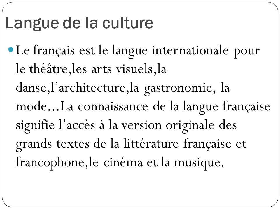 Langue de la culture Le français est le langue internationale pour le théâtre,les arts visuels,la danse,l'architecture,la gastronomie, la mode...La co