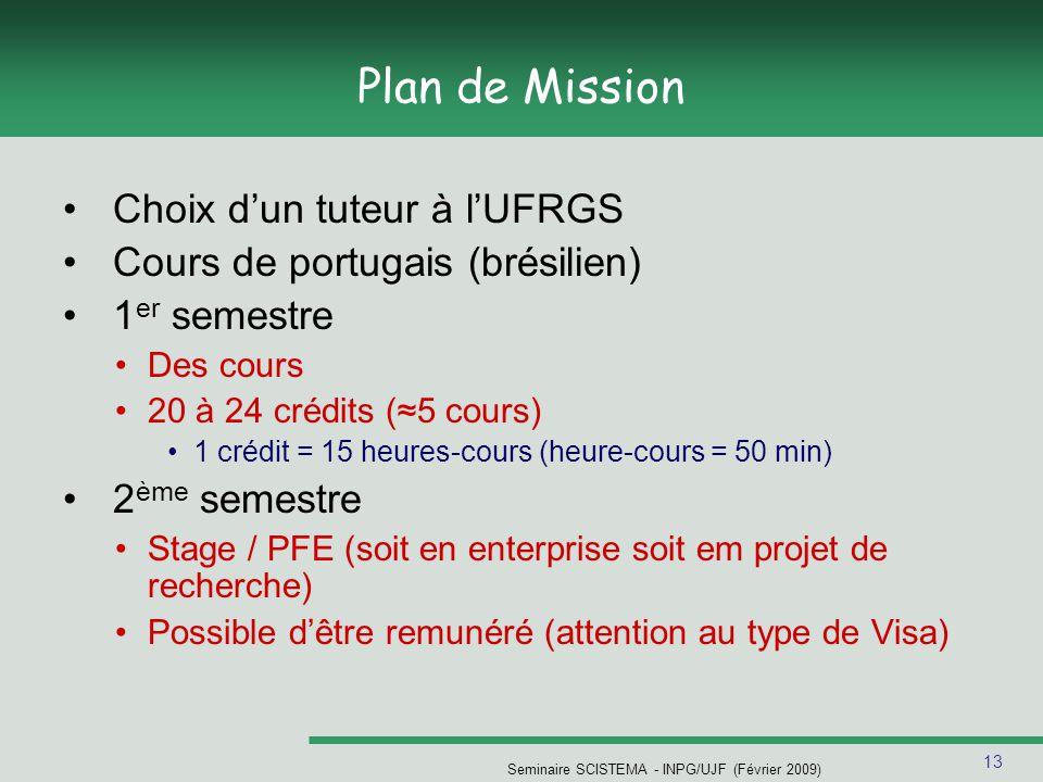13 Seminaire SCISTEMA - INPG/UJF (Février 2009) Plan de Mission Choix d'un tuteur à l'UFRGS Cours de portugais (brésilien) 1 er semestre Des cours 20 à 24 crédits (≈5 cours) 1 crédit = 15 heures-cours (heure-cours = 50 min) 2 ème semestre Stage / PFE (soit en enterprise soit em projet de recherche) Possible d'être remunéré (attention au type de Visa)