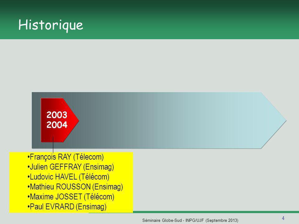 4 Séminaire Globe-Sud - INPG/UJF (Septembre 2013) Historique François RAY (Télecom) Julien GEFFRAY (Ensimag) Ludovic HAVEL (Télécom) Mathieu ROUSSON (Ensimag) Maxime JOSSET (Télécom) Paul EVRARD (Ensimag) 2003 2004