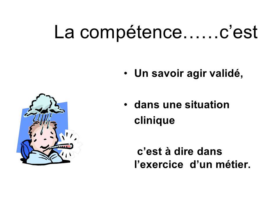 La compétence……c'est Un savoir agir validé, dans une situation clinique c'est à dire dans l'exercice d'un métier.