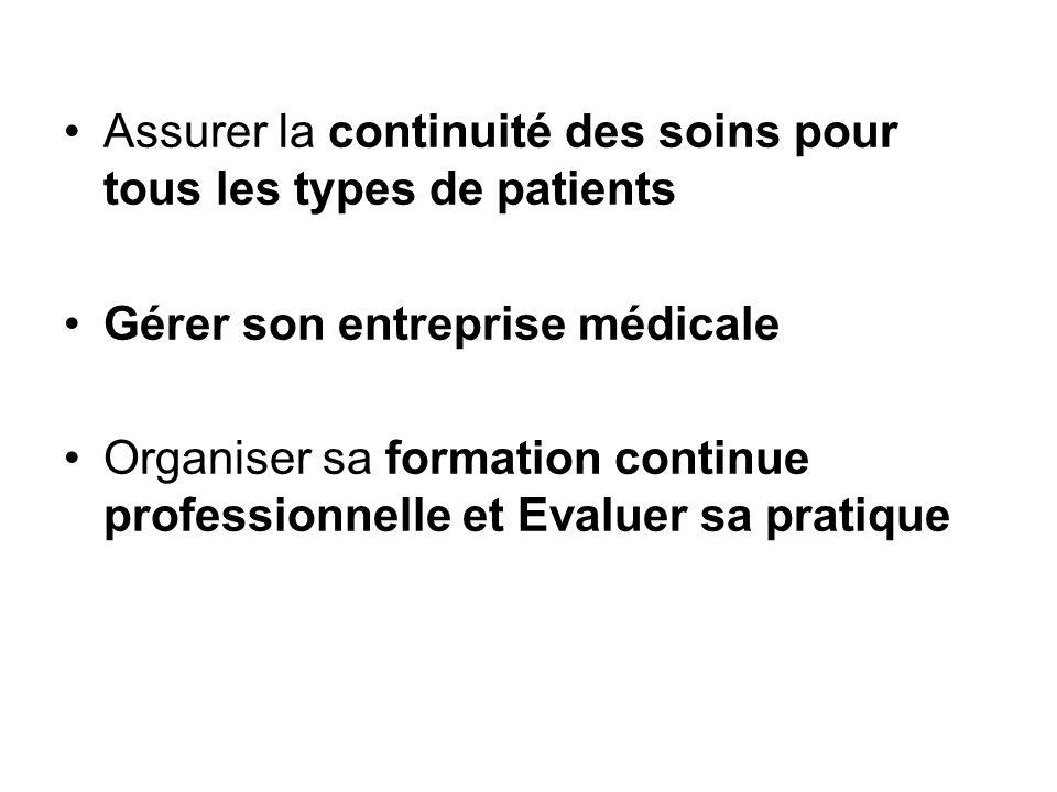 Assurer la continuité des soins pour tous les types de patients Gérer son entreprise médicale Organiser sa formation continue professionnelle et Evalu