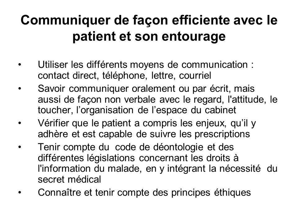 Communiquer de façon efficiente avec le patient et son entourage Utiliser les différents moyens de communication : contact direct, téléphone, lettre,