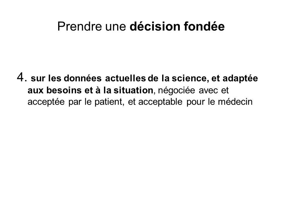 Prendre une décision fondée 4. sur les données actuelles de la science, et adaptée aux besoins et à la situation, négociée avec et acceptée par le pat