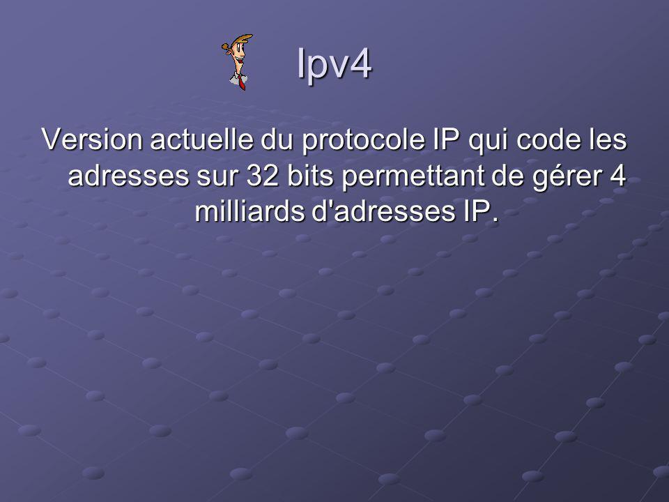Ipv4 Version actuelle du protocole IP qui code les adresses sur 32 bits permettant de gérer 4 milliards d adresses IP.