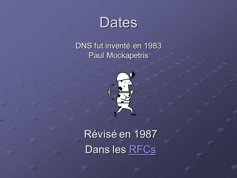 Dates DNS fut inventé en 1983 Paul Mockapetris Révisé en 1987 Dans les RFCs RFCs