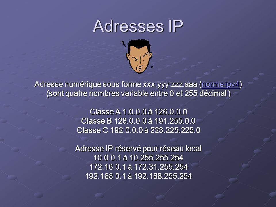 Adresses IP Adresse numérique sous forme xxx.yyy.zzz.aaa (norme ipv4) norme ipv4norme ipv4 (sont quatre nombres variable entre 0 et 255 décimal ) Classe A 1.0.0.0 à 126.0.0.0 Classe B 128.0.0.0 à 191.255.0.0 Classe C 192.0.0.0 à 223.225.225.0 Adresse IP réservé pour réseau local 10.0.0.1 à 10.255.255.254 172.16.0.1 à 172.31.255.254 192.168.0.1 à 192.168.255.254