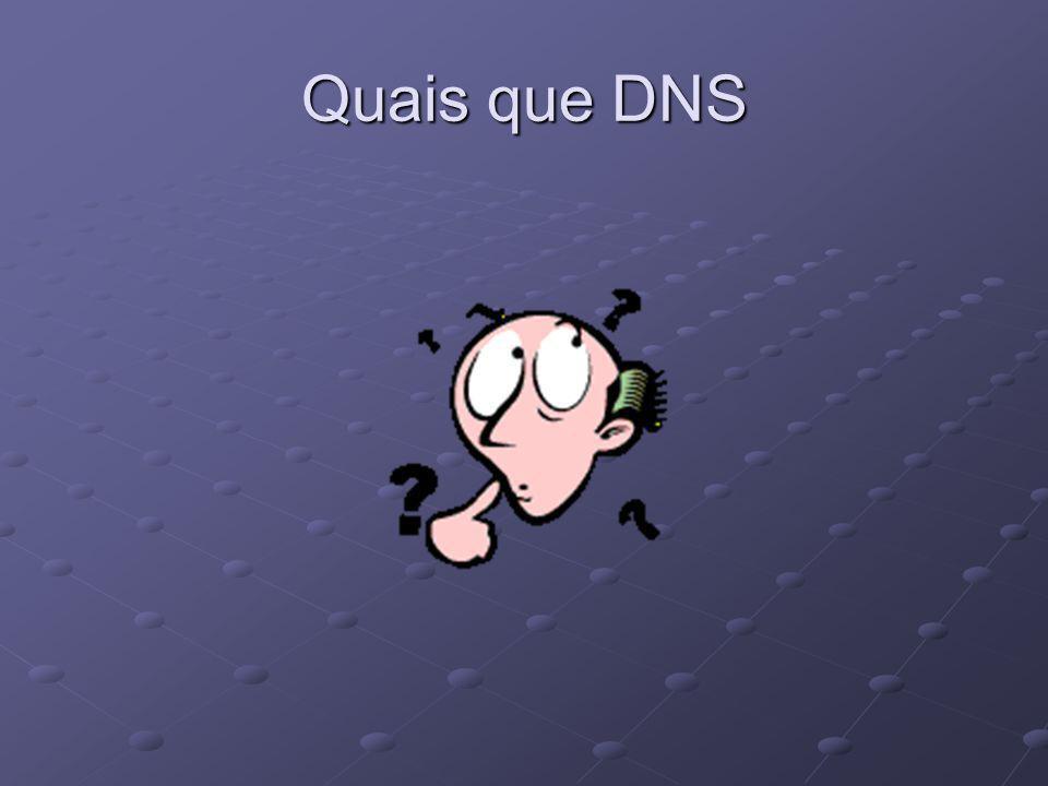 DNS Domain Name Systeme Traduction d'adresse IP en nom courent Humainement plus simple à retenir 213.228.0.42  www.free.fr appelle FQDN (Fully Qualified Domain Name), soit Nom de Domaine Totalement Qualifié