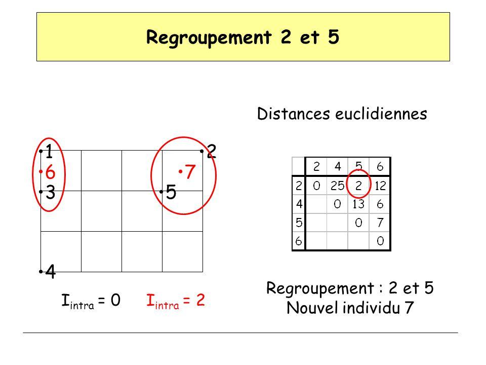 Regroupement 2 et 5 Distances euclidiennes Regroupement : 2 et 5 Nouvel individu 7 12 3 4 5 67 I intra = 0I intra = 2
