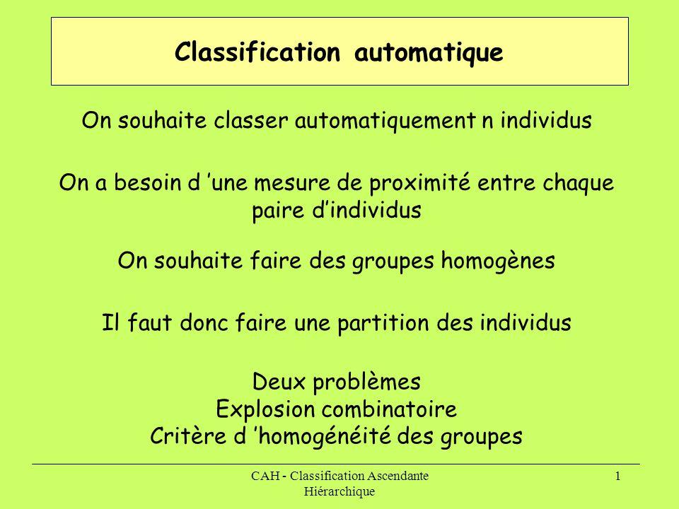 CAH - Classification Ascendante Hiérarchique 1 Classification automatique On souhaite classer automatiquement n individus On a besoin d 'une mesure de proximité entre chaque paire d'individus On souhaite faire des groupes homogènes Il faut donc faire une partition des individus Deux problèmes Explosion combinatoire Critère d 'homogénéité des groupes