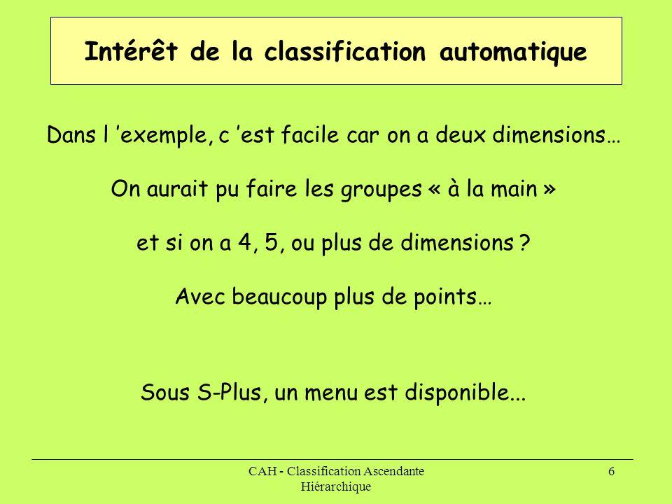 CAH - Classification Ascendante Hiérarchique 6 Intérêt de la classification automatique Sous S-Plus, un menu est disponible... Dans l 'exemple, c 'est