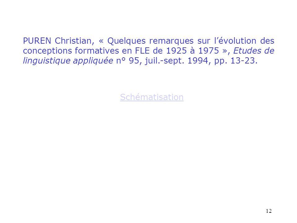 12 PUREN Christian, « Quelques remarques sur l'évolution des conceptions formatives en FLE de 1925 à 1975 », Etudes de linguistique appliquée n° 95, j