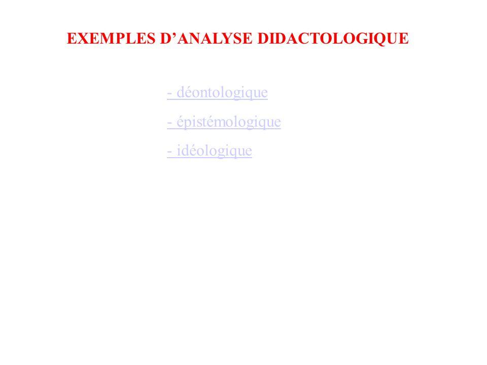 - déontologique - épistémologique - idéologique EXEMPLES D'ANALYSE DIDACTOLOGIQUE