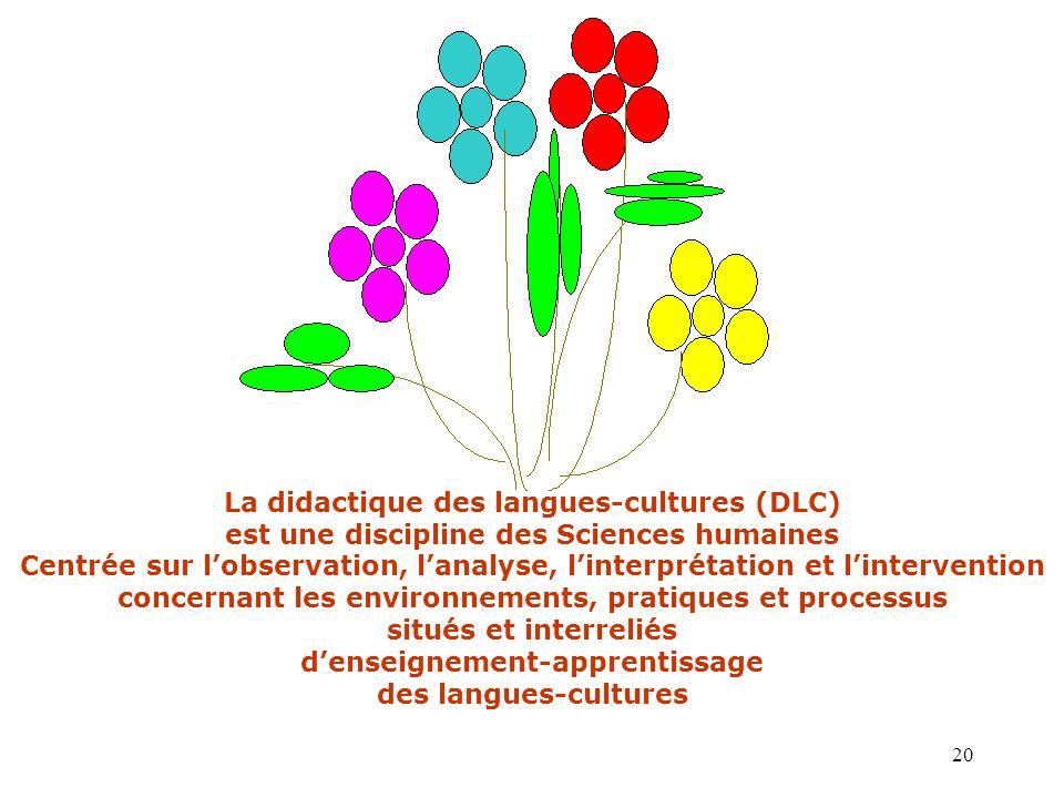 20 La didactique des langues-cultures (DLC) est une discipline des Sciences humaines Centrée sur l'observation, l'analyse, l'interprétation et l'inter