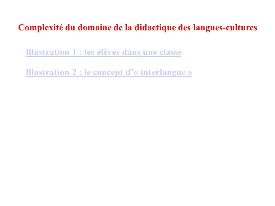 Illustration 1 : les élèves dans une classe Illustration 2 : le concept d'« interlangue » Complexité du domaine de la didactique des langues-cultures