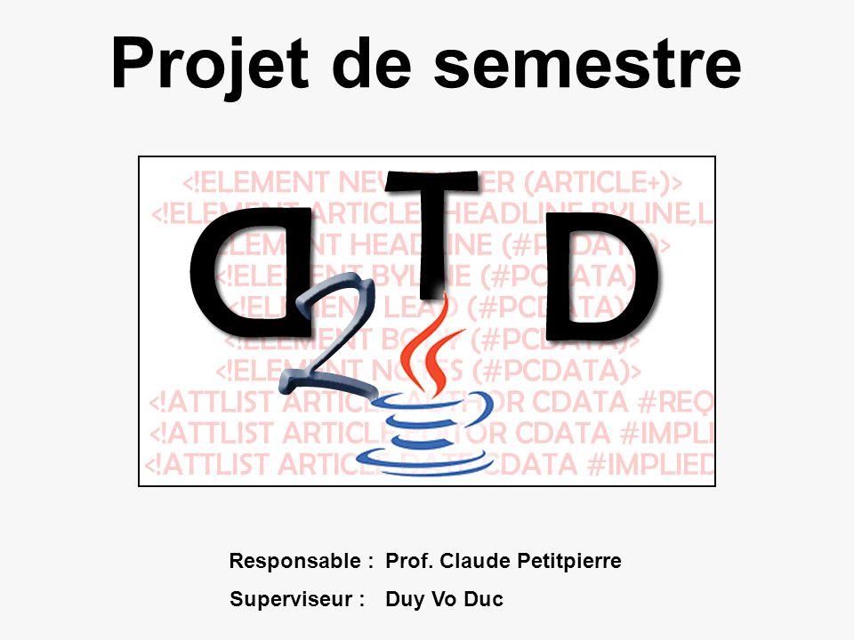 Projet de semestre Responsable :Prof. Claude Petitpierre Superviseur :Duy Vo Duc
