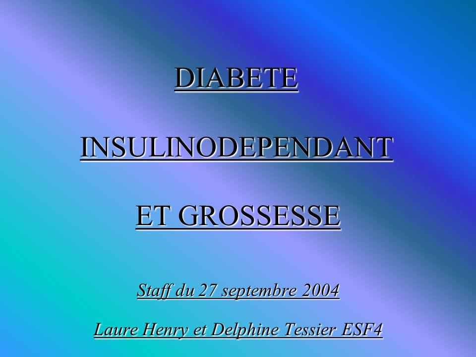 DIABETE INSULINODEPENDANT ET GROSSESSE Staff du 27 septembre 2004 Laure Henry et Delphine Tessier ESF4