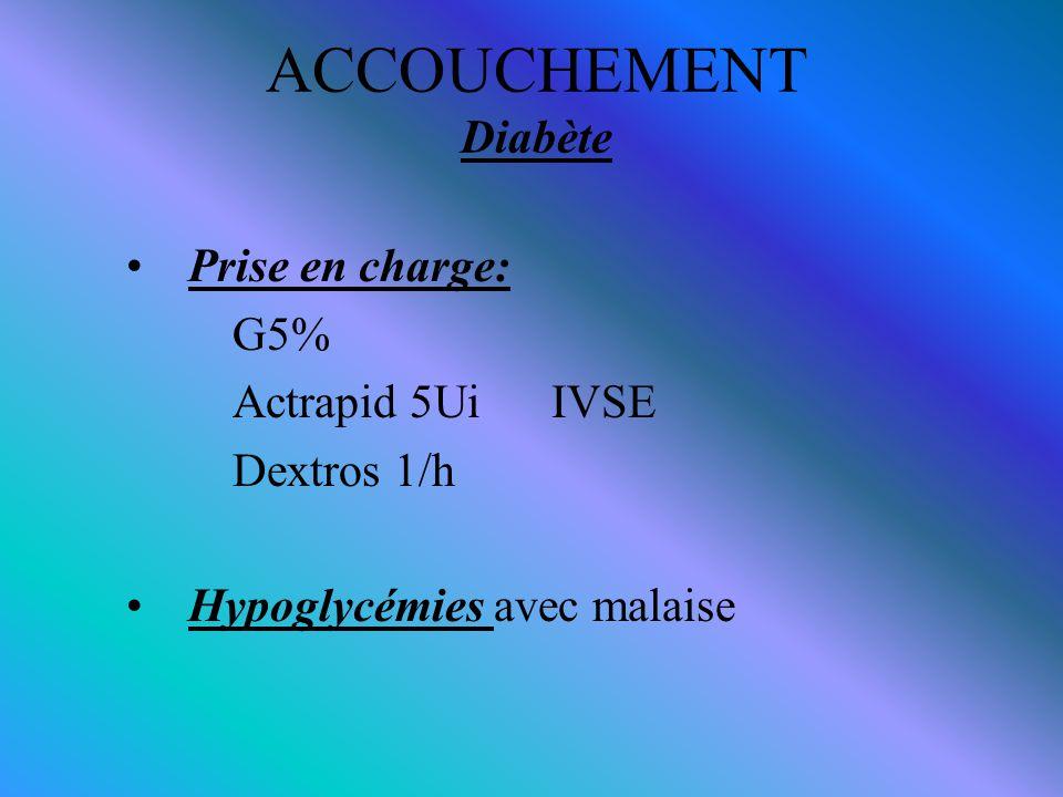 ACCOUCHEMENT Diabète Prise en charge: G5% Actrapid 5Ui IVSE Dextros 1/h Hypoglycémies avec malaise