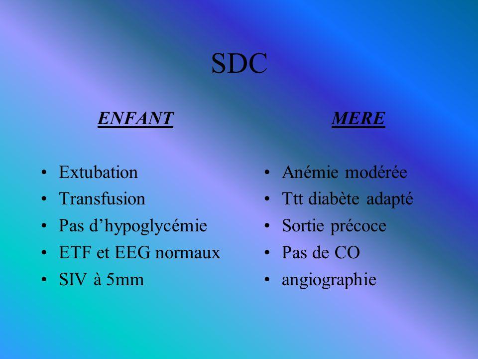 SDC ENFANT Extubation Transfusion Pas d'hypoglycémie ETF et EEG normaux SIV à 5mm MERE Anémie modérée Ttt diabète adapté Sortie précoce Pas de CO angi