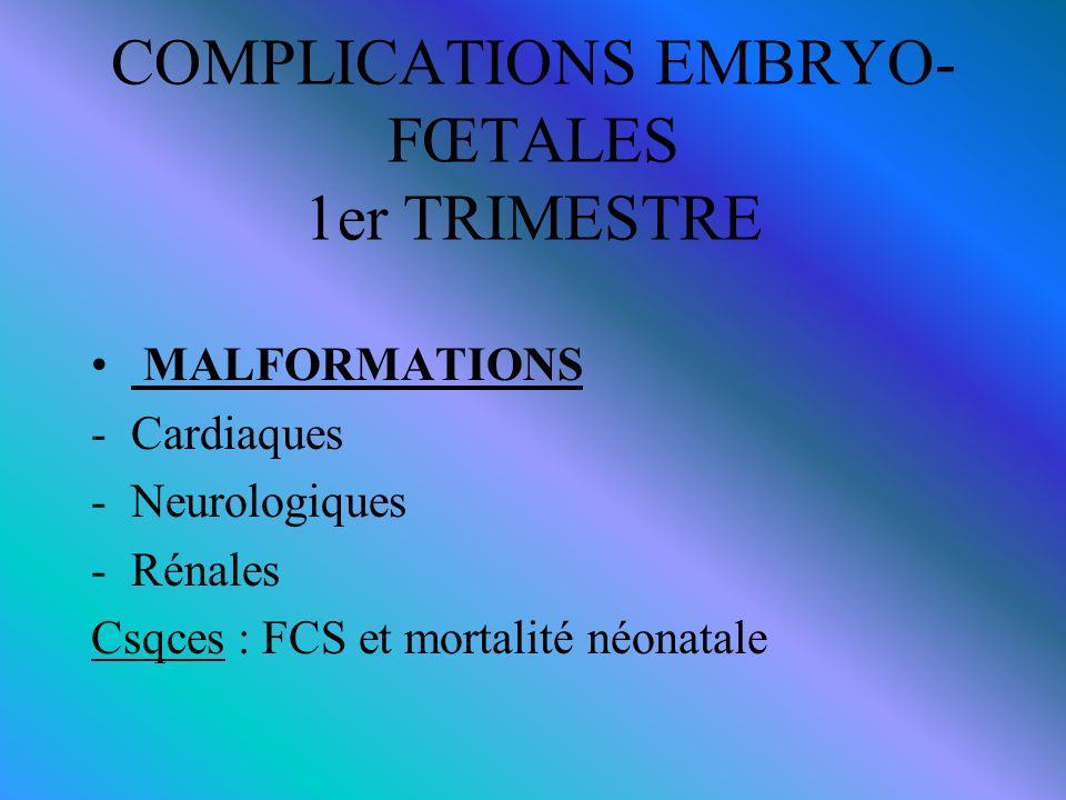 COMPLICATIONS EMBRYO- FŒTALES 1er TRIMESTRE MALFORMATIONS -Cardiaques -Neurologiques -Rénales Csqces : FCS et mortalité néonatale