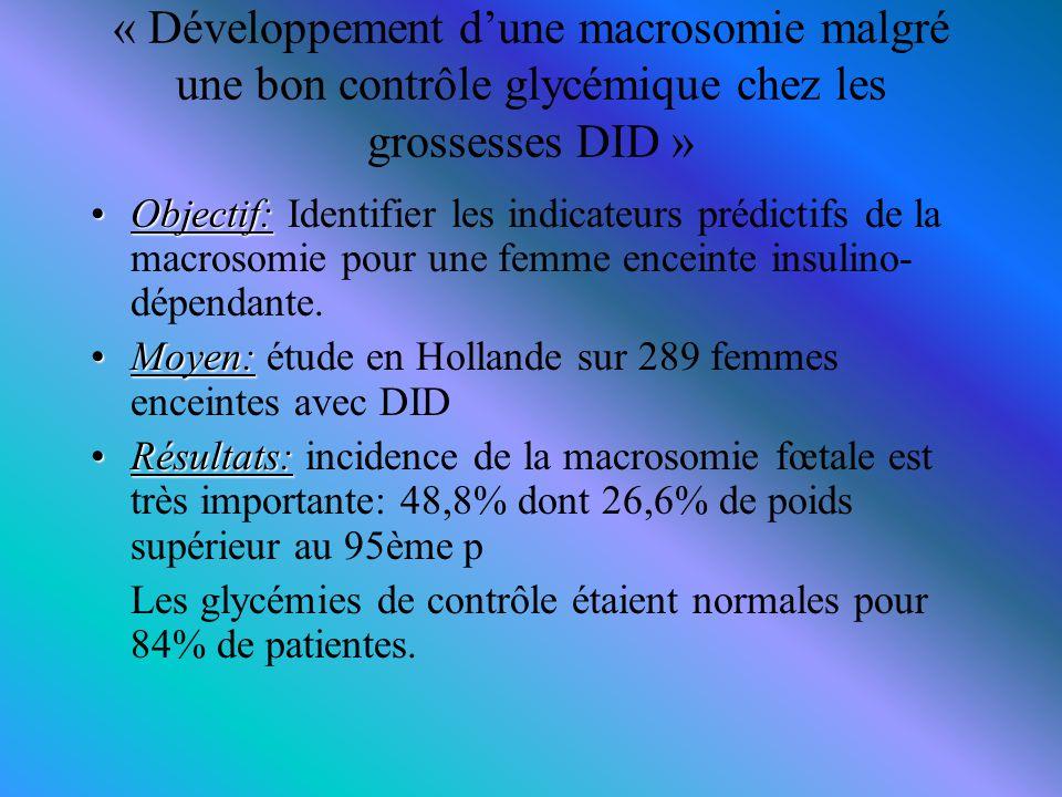 « Développement d'une macrosomie malgré une bon contrôle glycémique chez les grossesses DID » Objectif:Objectif: Identifier les indicateurs prédictifs