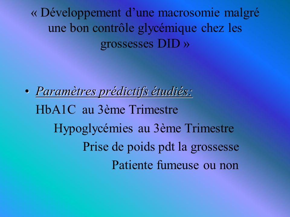 « Développement d'une macrosomie malgré une bon contrôle glycémique chez les grossesses DID » ParamètresParamètres prédictifs étudiés: HbA1C au 3ème T