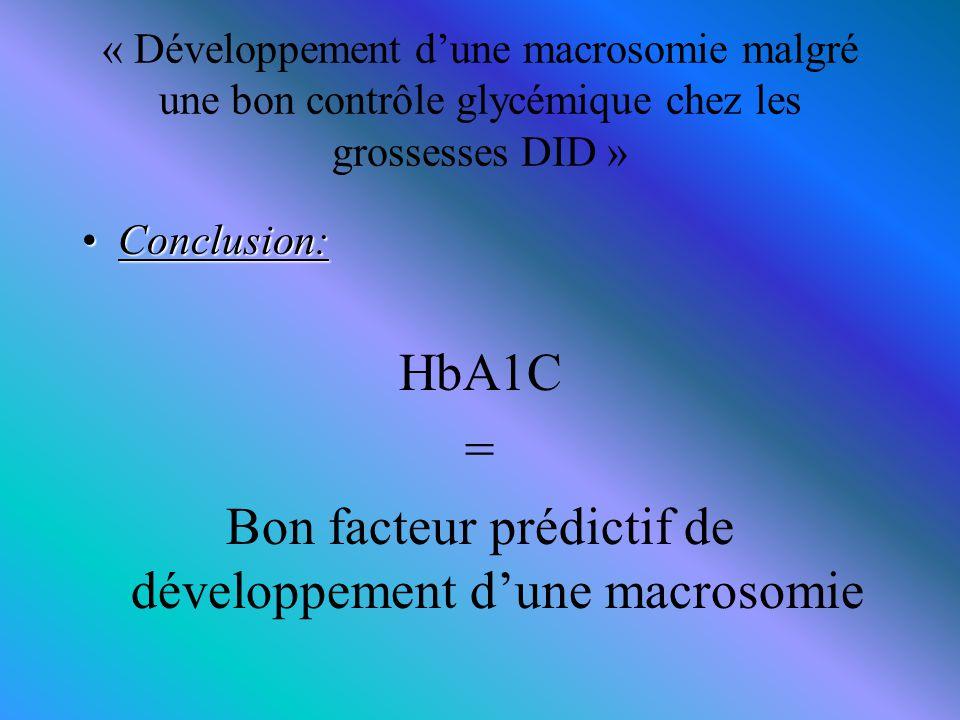 « Développement d'une macrosomie malgré une bon contrôle glycémique chez les grossesses DID » Conclusion:Conclusion: HbA1C = Bon facteur prédictif de