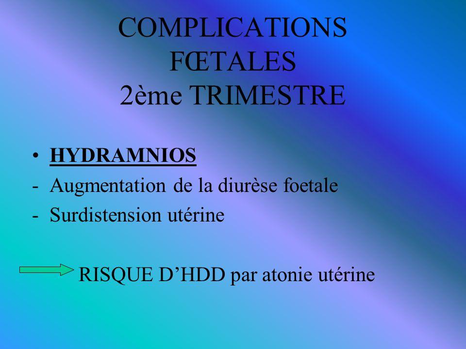 COMPLICATIONS FŒTALES 2ème TRIMESTRE HYDRAMNIOS -Augmentation de la diurèse foetale -Surdistension utérine RISQUE D'HDD par atonie utérine