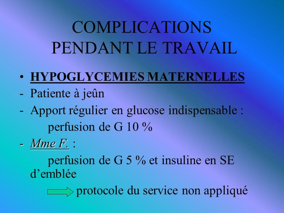 COMPLICATIONS PENDANT LE TRAVAIL HYPOGLYCEMIES MATERNELLES -Patiente à jeûn -Apport régulier en glucose indispensable : perfusion de G 10 % -Mme F. -M