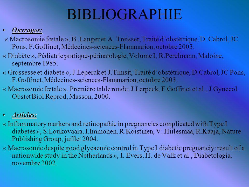 BIBLIOGRAPHIE Ouvrages:Ouvrages: « Macrosomie fœtale », B. Langer et A. Treisser, Traité d'obstétrique, D. Cabrol, JC Pons, F.Goffinet, Médecines-scie