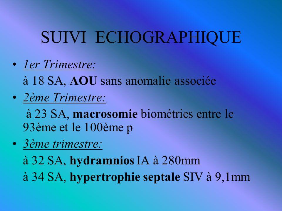 SUIVI ECHOGRAPHIQUE 1er Trimestre: à 18 SA, AOU sans anomalie associée 2ème Trimestre: à 23 SA, macrosomie biométries entre le 93ème et le 100ème p 3è