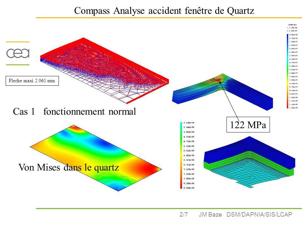 2/7 Compass Analyse accident fenêtre de Quartz JM Baze DSM/DAPNIA/SIS/LCAP Von Mises dans le quartz 122 MPa Cas 1 fonctionnement normal Fleche maxi 2.061 mm