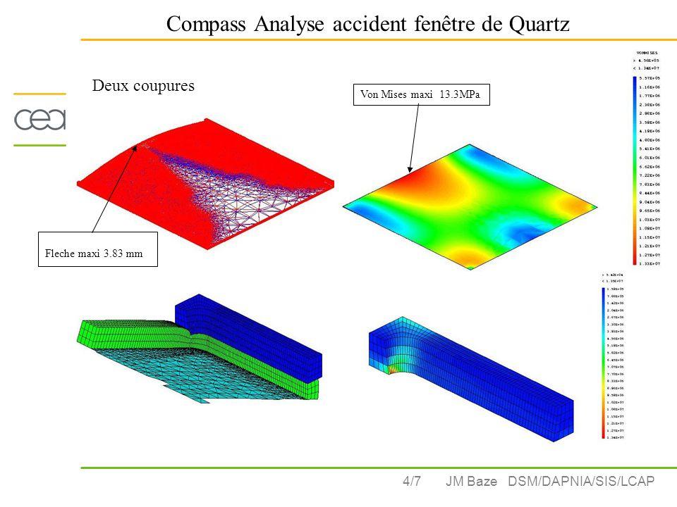 4/7 Compass Analyse accident fenêtre de Quartz JM Baze DSM/DAPNIA/SIS/LCAP Fleche maxi 3.83 mm Von Mises maxi 13.3MPa Deux coupures